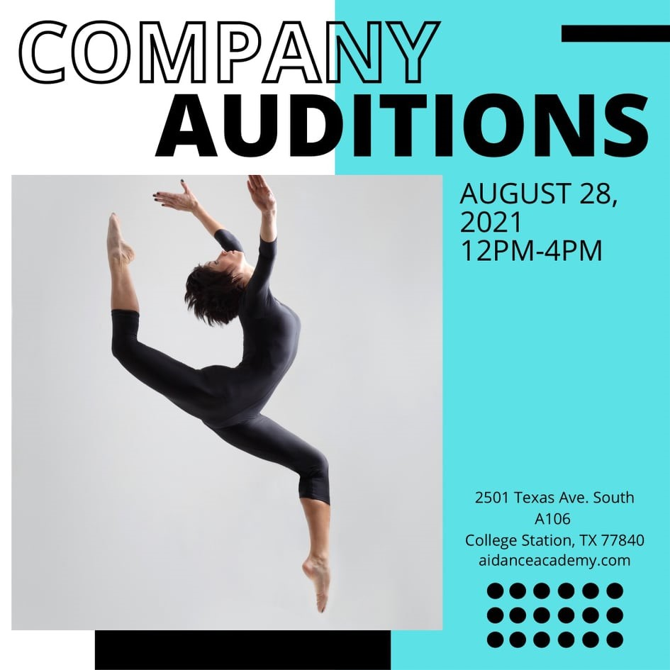 Company Auditions – Aug. 28, 12-4pm
